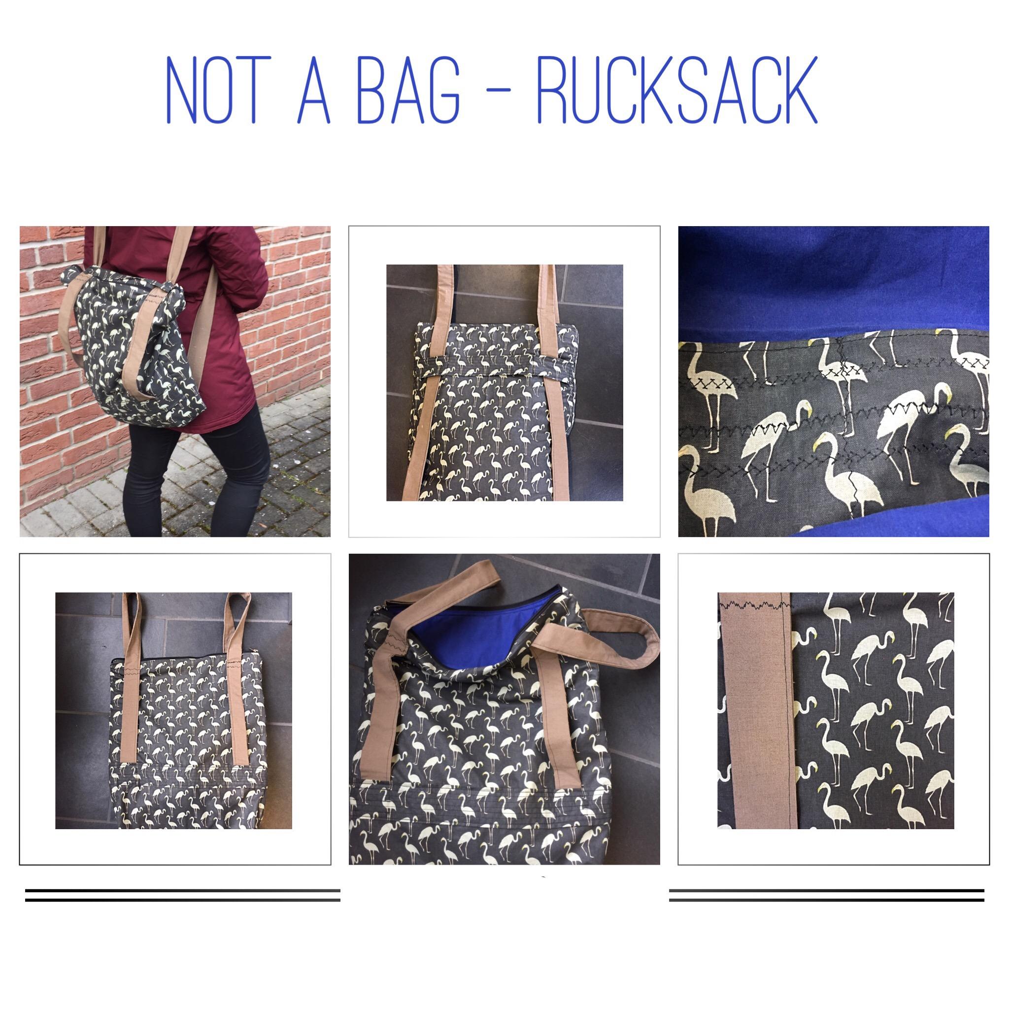 Not a bag Rucksack, Tasche mit verstellbarem Henkel als Rucksack zu tragen, Flamingo Baumwollstoff, DIY in Münster, handmade by marinamia